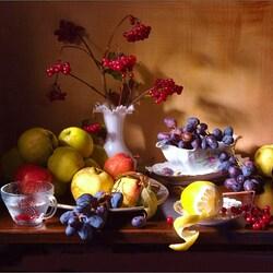 Пазл онлайн: С калиной и фруктами