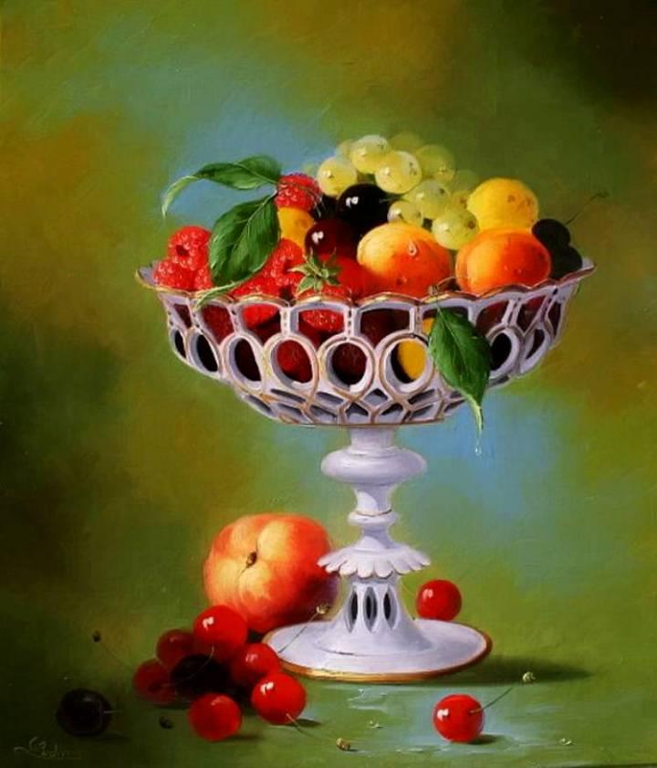 Открытка ваза с фруктами