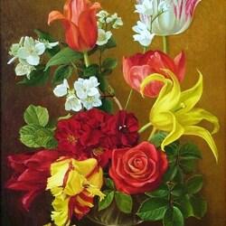 Пазл онлайн: Тюльпаны,розы и жасмин в стеклянной вазе