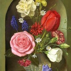 Пазл онлайн: Цветы в нише (по композиции Дж.Бисса)
