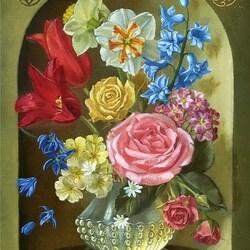 Пазл онлайн: Цветы в нише (по композиции Дж.Ангермейера)