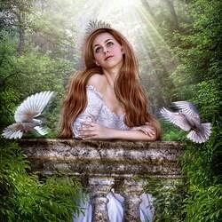 Пазл онлайн: Девушка и голуби