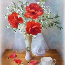 Пазл онлайн: Красные тюльпаны
