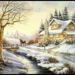 Пазл онлайн: Зимний пейзж