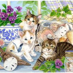 Пазл онлайн: Котики и ракушки