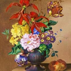 Пазл онлайн: Натюрморт с цветами и персиками