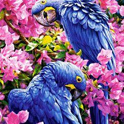 Пазл онлайн: Синие попугаи
