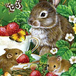 Пазл онлайн: Зайка и мышки