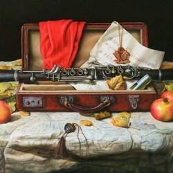 Пазл онлайн: Натюрморт с флейтой