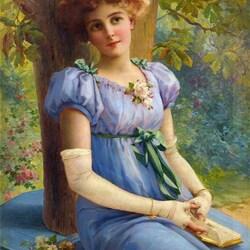 Пазл онлайн: Девушка в голубом