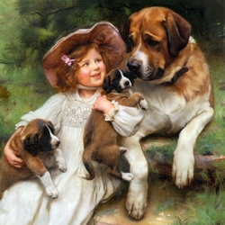 Пазл онлайн: Девочка с собаками