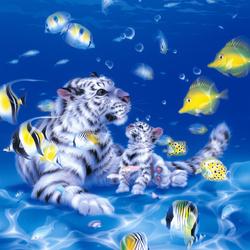 Пазл онлайн: Подводные тигрята