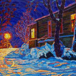 Пазл онлайн: Переулок Нагорный, зимний вечер