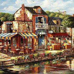 Пазл онлайн: Кафе на берегу канала