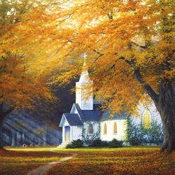 Пазл онлайн: Церковь в долине