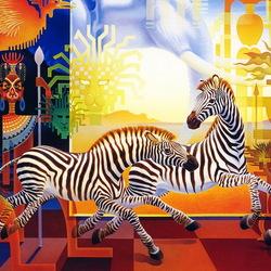 Пазл онлайн: Зебры