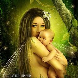 Пазл онлайн: Фея с младенцем