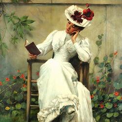 Пазл онлайн: Девушка с книгой в саду