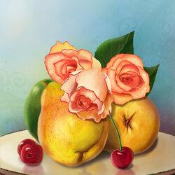 Пазл онлайн: Груши и розы