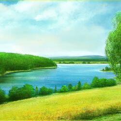 Пазл онлайн: Озеро летом