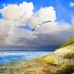 Пазл онлайн: Чайки и море
