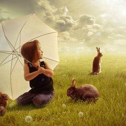 Пазл онлайн: Девочка с кроликами