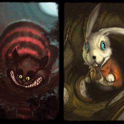 Пазл онлайн: Чеширский Кот и Белый Кролик