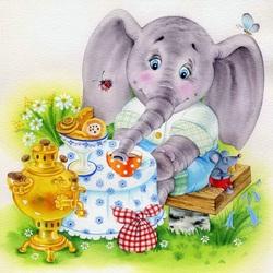 Пазл онлайн: Чаепитие у слоненка