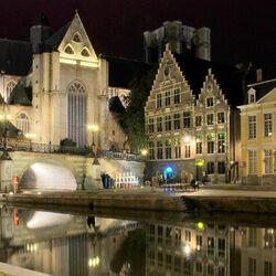 Пазл онлайн: Ночной Гент. Бельгия