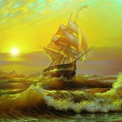 Пазл онлайн: Закат над морем