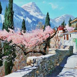 Пазл онлайн: Цветущий миндаль