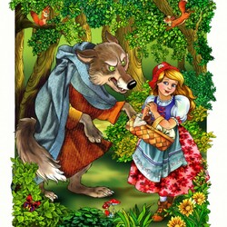Пазл онлайн: Красная шапочка и серый волк