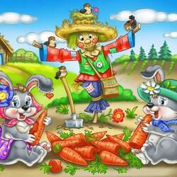 Пазл онлайн: Зайчики и морковка