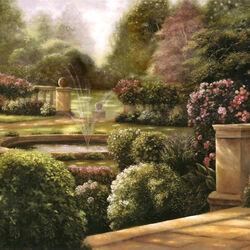 Пазл онлайн: Сад с фонтаном