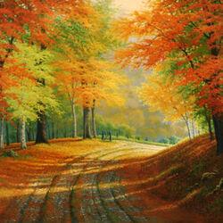 Пазл онлайн: Приходит осень тихими шагами