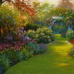 Пазл онлайн: Розовая арка в саду