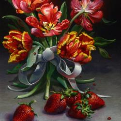 Пазл онлайн: Тюльпаны и клубника