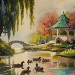 Пазл онлайн: Беседка у пруда