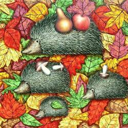 Пазл онлайн: Осенние ежики