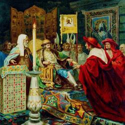 Пазл онлайн: Александр Невский принимает папских легатов