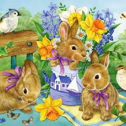 Пазл онлайн: Крольчата