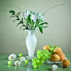 Пазл онлайн: Фрукты,цветы и ракушки