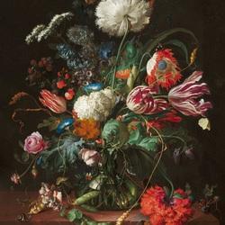 Пазл онлайн: Букет цветов в стекляной вазе