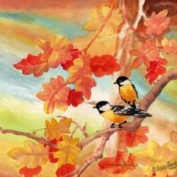 Пазл онлайн: Птички на ветке