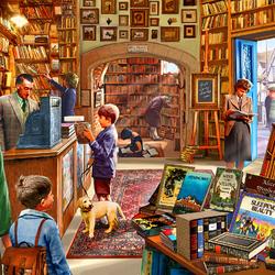 Пазл онлайн: Старый книжный магазин