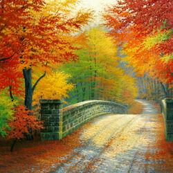Пазл онлайн: Мост в осень
