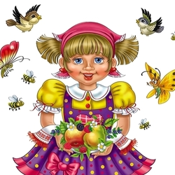 Пазл онлайн: Девочка с фруктами
