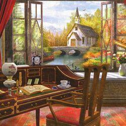 Пазл онлайн: Церковь за окном
