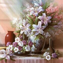 Пазл онлайн: Нежные лилии