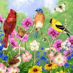 Пазл онлайн: Птицы на ограде